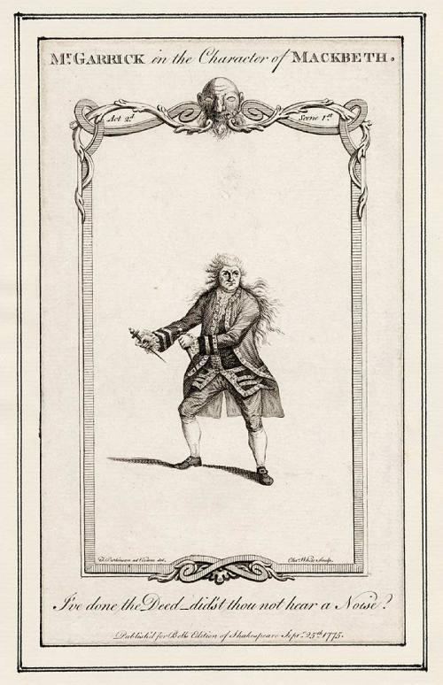 Näyttelijä David Garrick Macbethin roolissa (Wikimedia Commons)