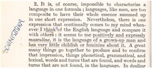 "(Otto Jespersen, ""Growth and Structure of the English Language"", 9. painos, 1967, s. 2. Helsingin yliopiston kirjaston kokoelmat.)"