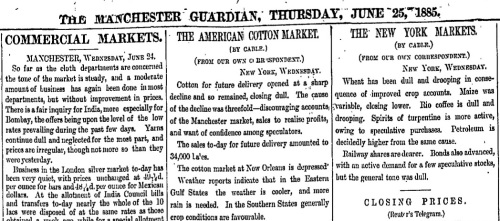 Manchester Guardian 25.6.1885 ProQuest Historical Newspapers: The Guardian (1821-2003) and The Observer (1791-2003)