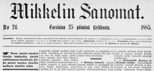 Mikkelin Sanomat 25.6.1885 DIGI - Kansalliskirjasto digitoidut aineistot / Sanomalehdet