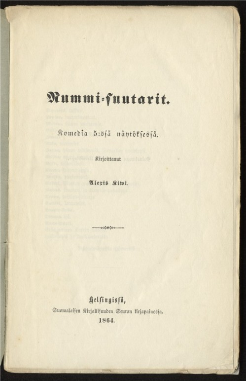 Nummisuutarit (1864) - digitaalinen editio (SKS)